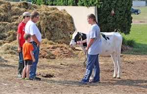 People talk to an exhibitor at the Fair.
