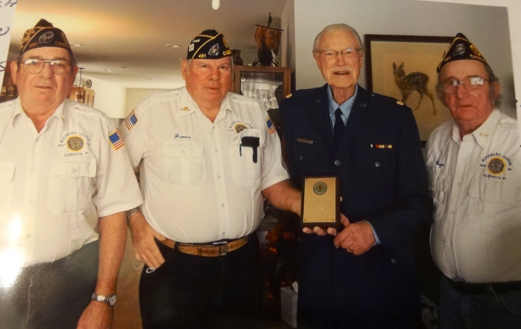 Three officers from the Cazenovia American Legion Post 491 visited Major Robert N. Smith, retired, on Dec. 30 to recognize Smith for 40 years of...